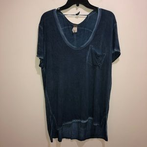 We The Free People Size M Blue Short Sleeve Top